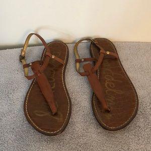 Sam Edelman size 7.5 leather brown flat sandals